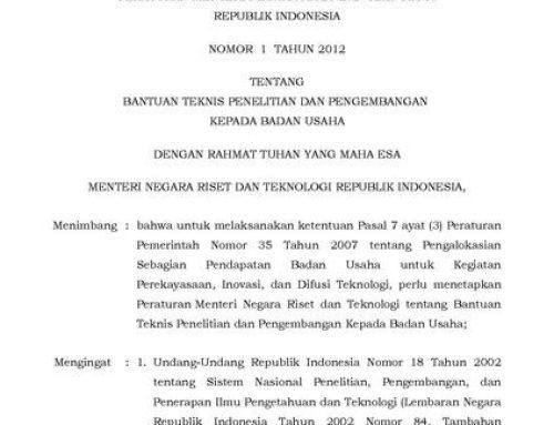 Permenristek DIKTI Nomor 33 Tahun 2018 tentang Penamaan Program Studi